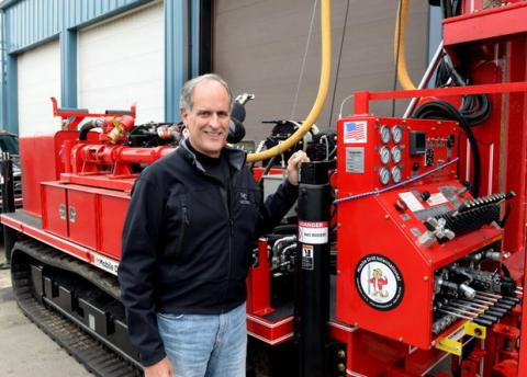 Jeffrey J. Campbell, president of Seaboard Drilling, Inc. of Chicopee with one of the company's new pieces of equipment. Seaboard has begun soil-testing at the site of MGM's $800 million resort casino in Springfield's South End. (MARK M. MURRAY / THE REPUBLICAN)